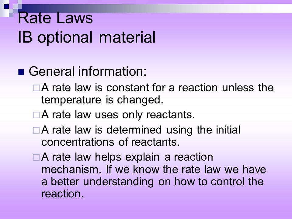 Rate Laws IB optional material