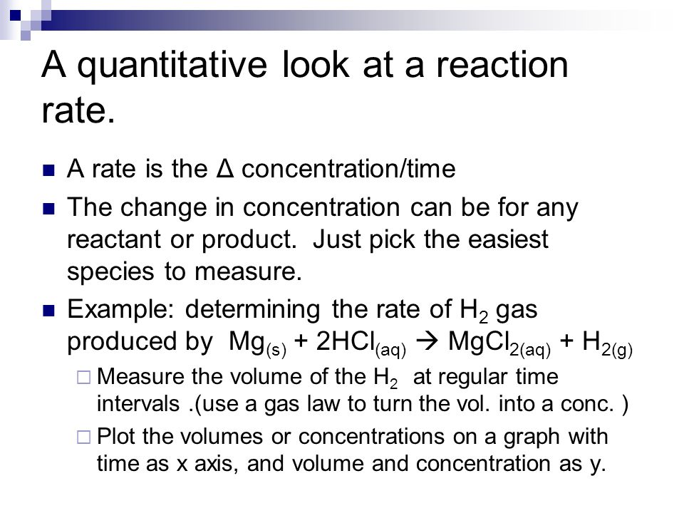 A quantitative look at a reaction rate.