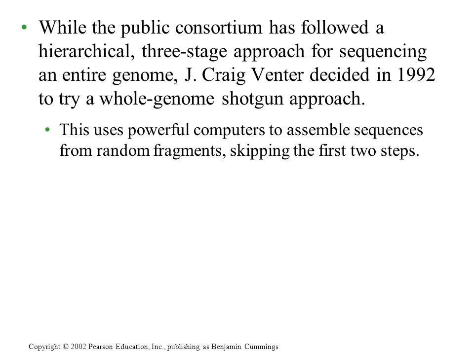 While the public consortium has followed a hierarchical, three-stage approach for sequencing an entire genome, J. Craig Venter decided in 1992 to try a whole-genome shotgun approach.