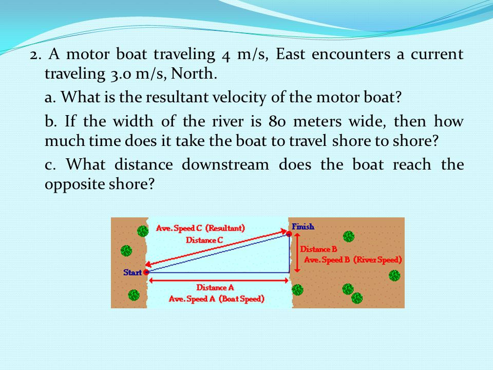 2. A motor boat traveling 4 m/s, East encounters a current traveling 3