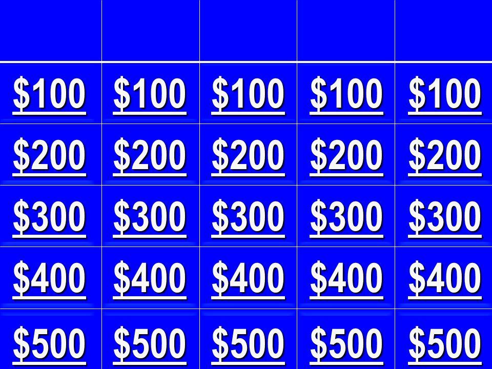 $100 $100. $100. $100. $100. $200. $200. $200. $200. $200. $300. $300. $300. $300. $300.