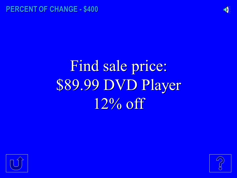 PERCENT OF CHANGE - $400 Find sale price: $89.99 DVD Player 12% off
