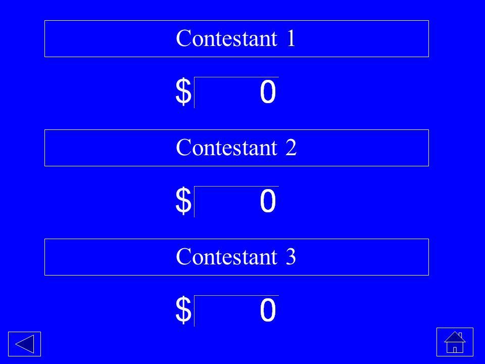 Contestant 1 $ Contestant 2 $ Contestant 3 $