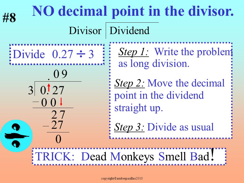 NO decimal point in the divisor. #8