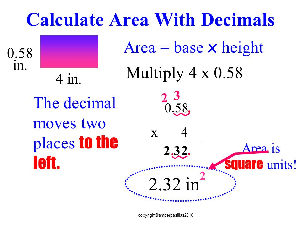 Calculate Area With Decimals
