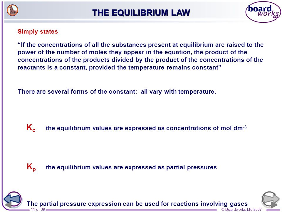 THE EQUILIBRIUM LAW Simply states