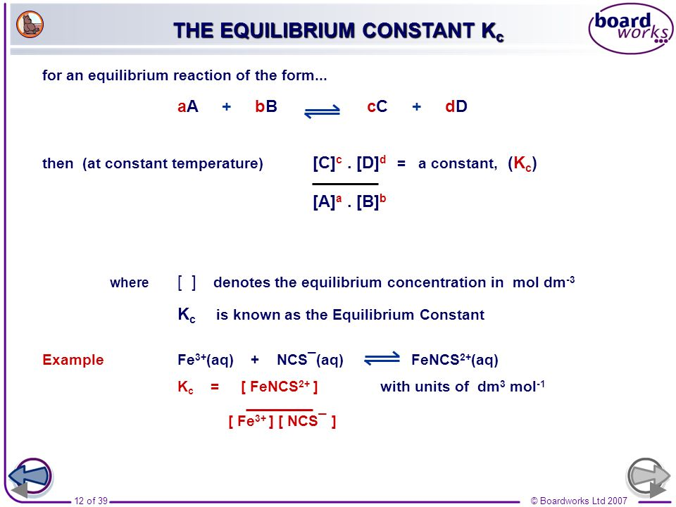 THE EQUILIBRIUM CONSTANT Kc