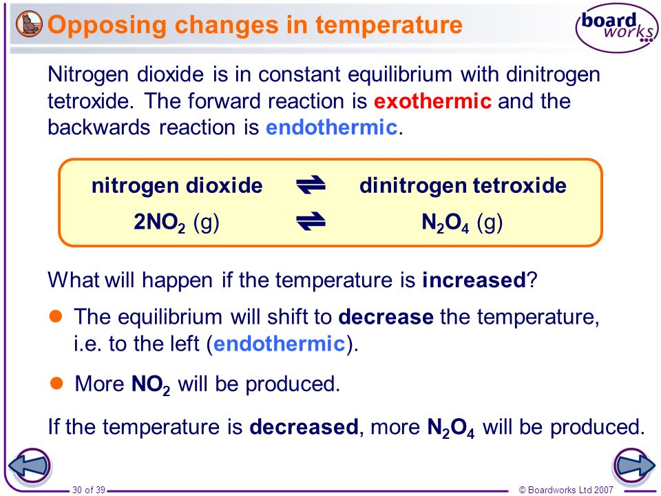 Opposing changes in temperature