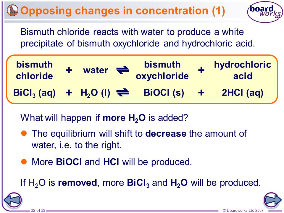 Opposing changes in concentration (1)