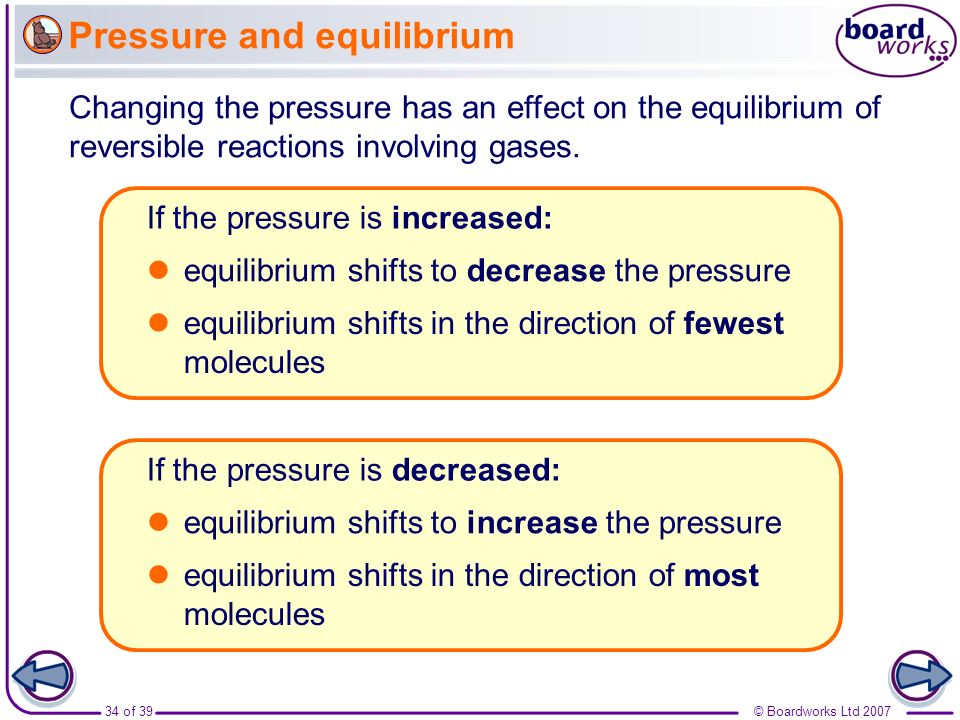 Pressure and equilibrium