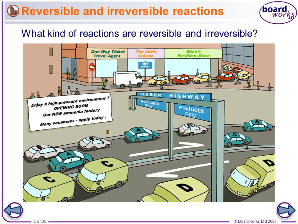 Reversible and irreversible reactions
