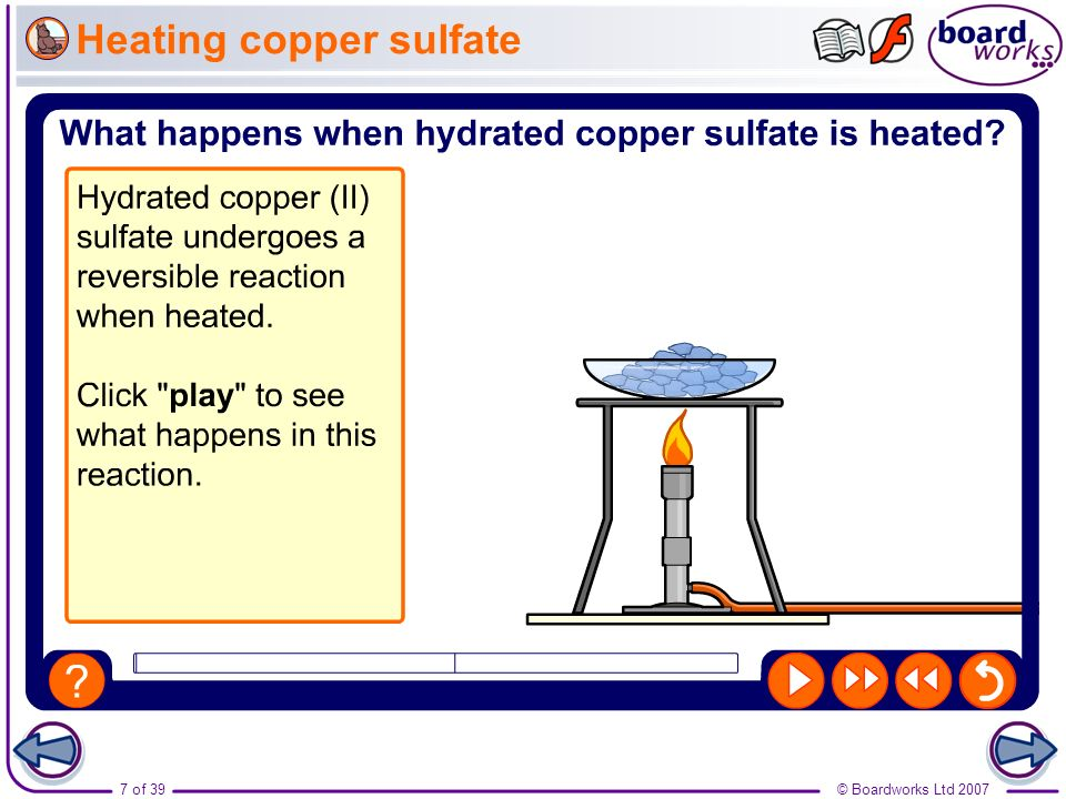 Heating copper sulfate