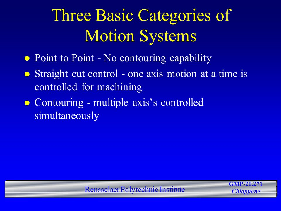 Three Basic Categories of Motion Systems