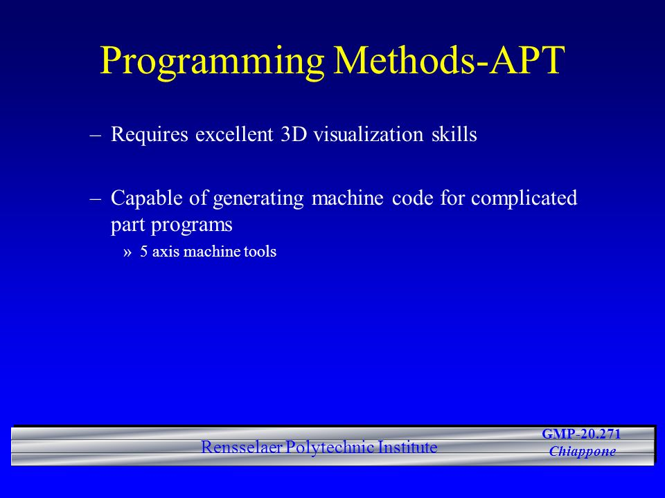 Programming Methods-APT