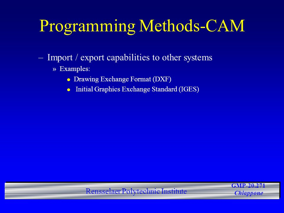 Programming Methods-CAM