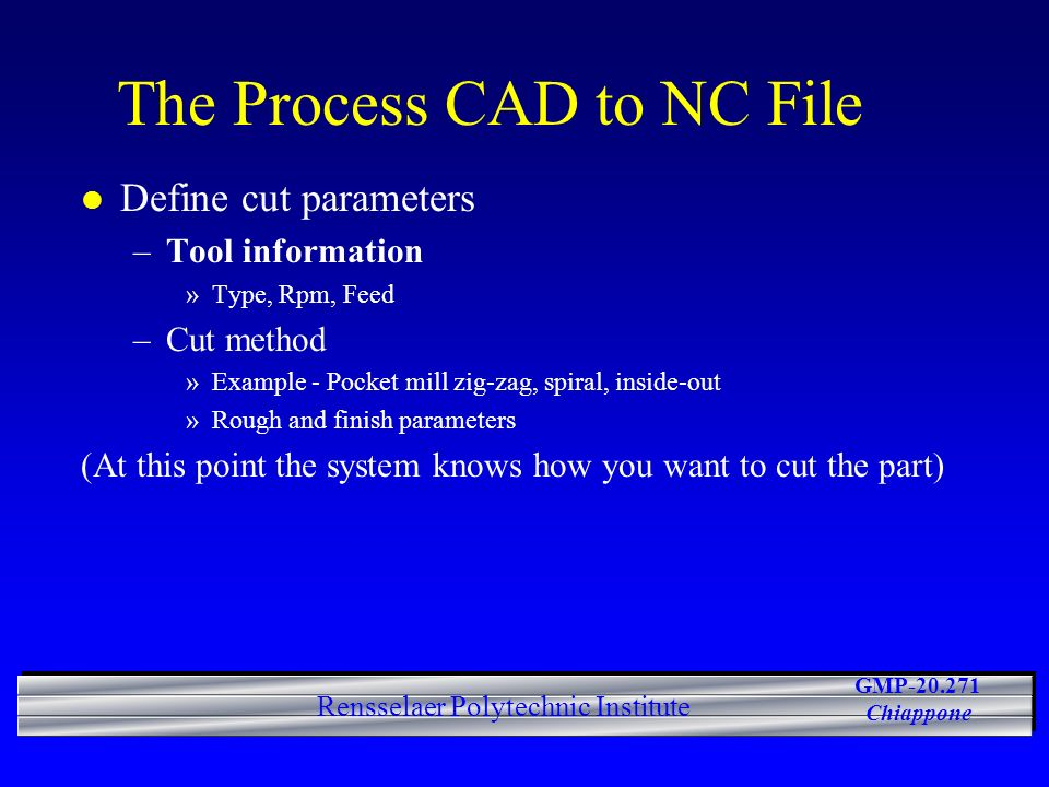 The Process CAD to NC File