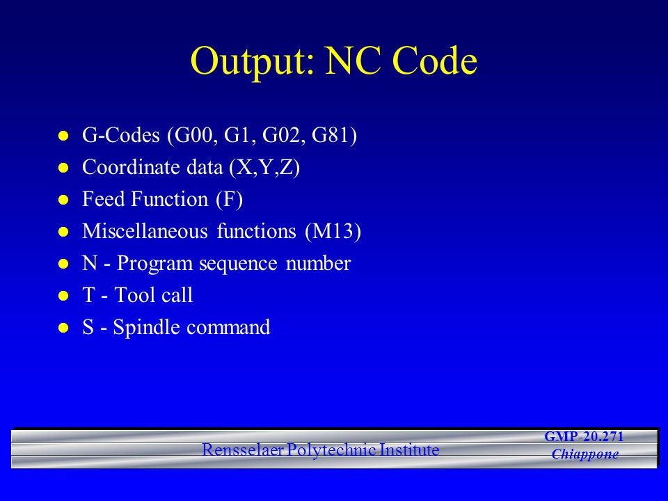 Output: NC Code G-Codes (G00, G1, G02, G81) Coordinate data (X,Y,Z)