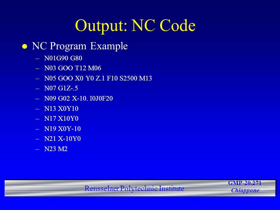 Output: NC Code NC Program Example N01G90 G80 N03 GOO T12 M06