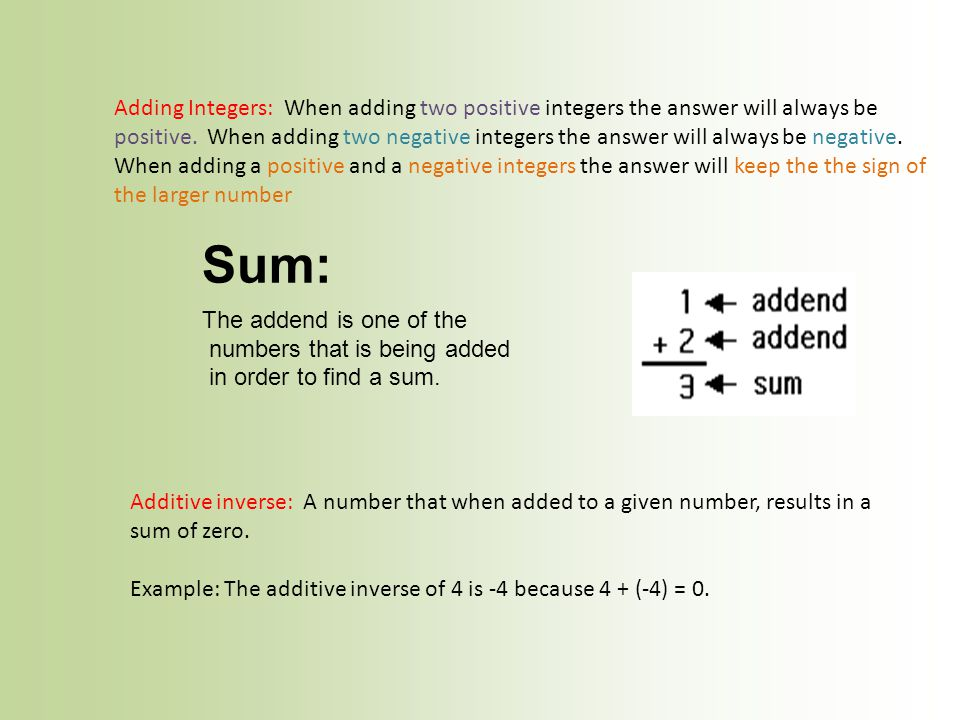 numbers that is being added in order to find a sum.