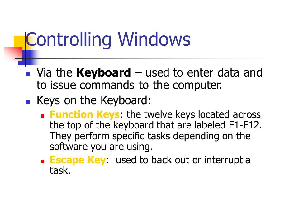 Controlling Windows Via the Keyboard – used to enter data and to issue commands to the computer. Keys on the Keyboard: