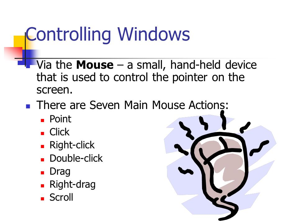 Controlling Windows Via the Mouse – a small, hand-held device that is used to control the pointer on the screen.