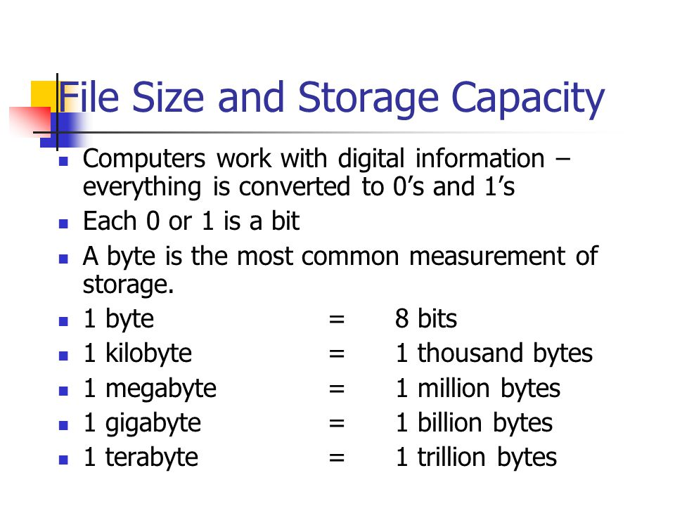 File Size and Storage Capacity