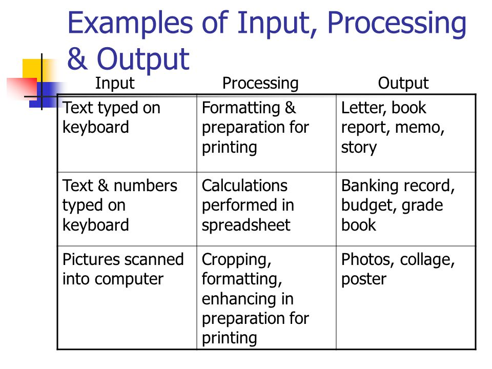 Examples of input, process and output?