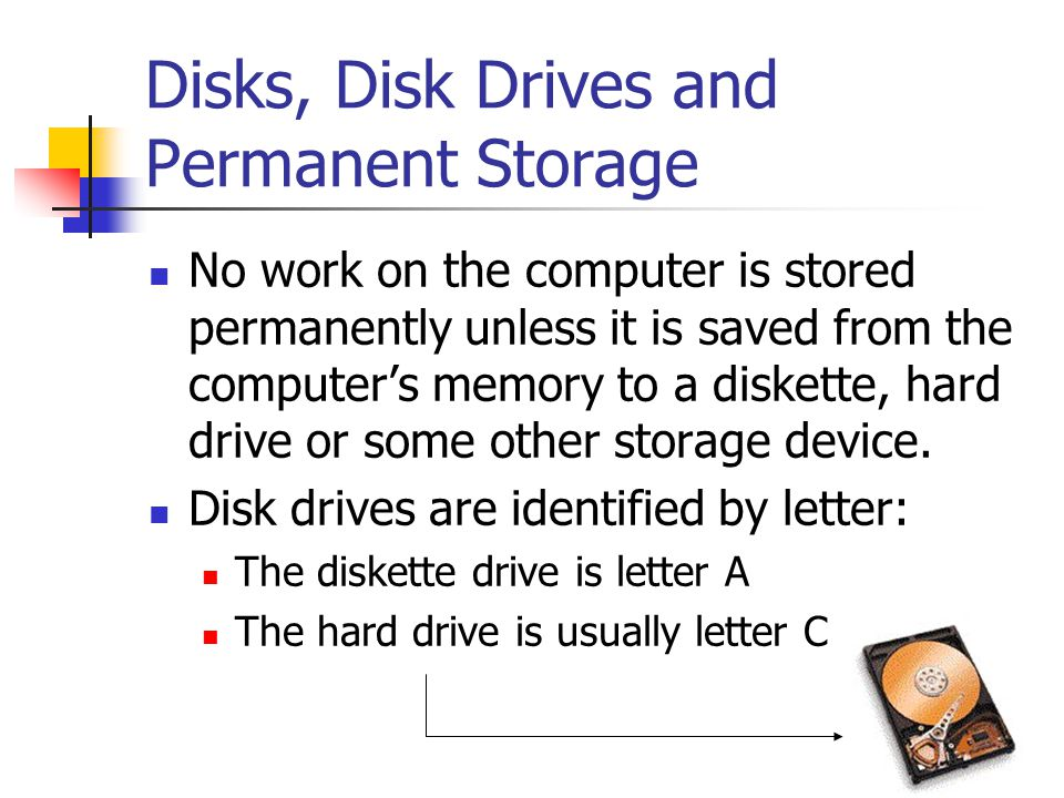 Disks, Disk Drives and Permanent Storage