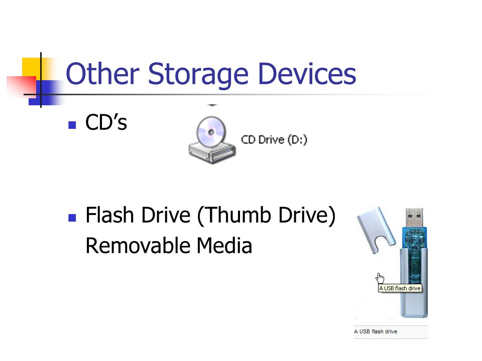 Other Storage Devices CD's Flash Drive (Thumb Drive) Removable Media