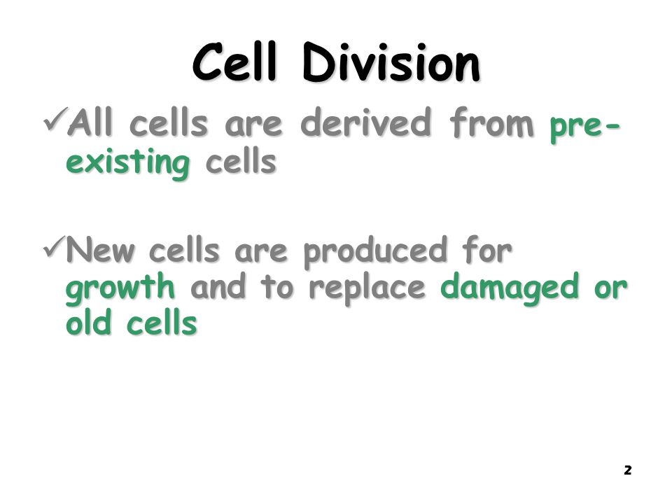 Cell Division All cells are derived from pre-existing cells