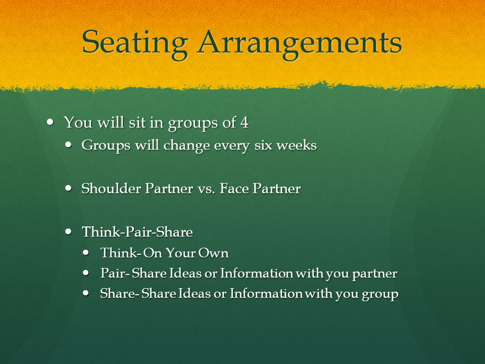 Seating Arrangements You will sit in groups of 4