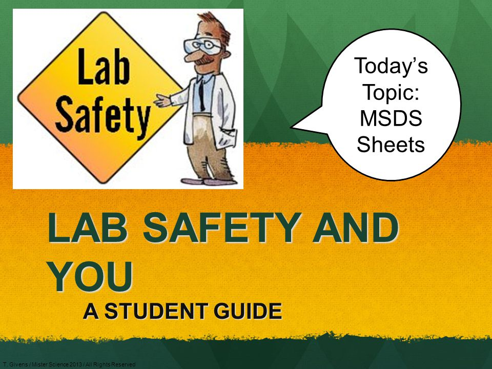 Today's Topic: MSDS Sheets