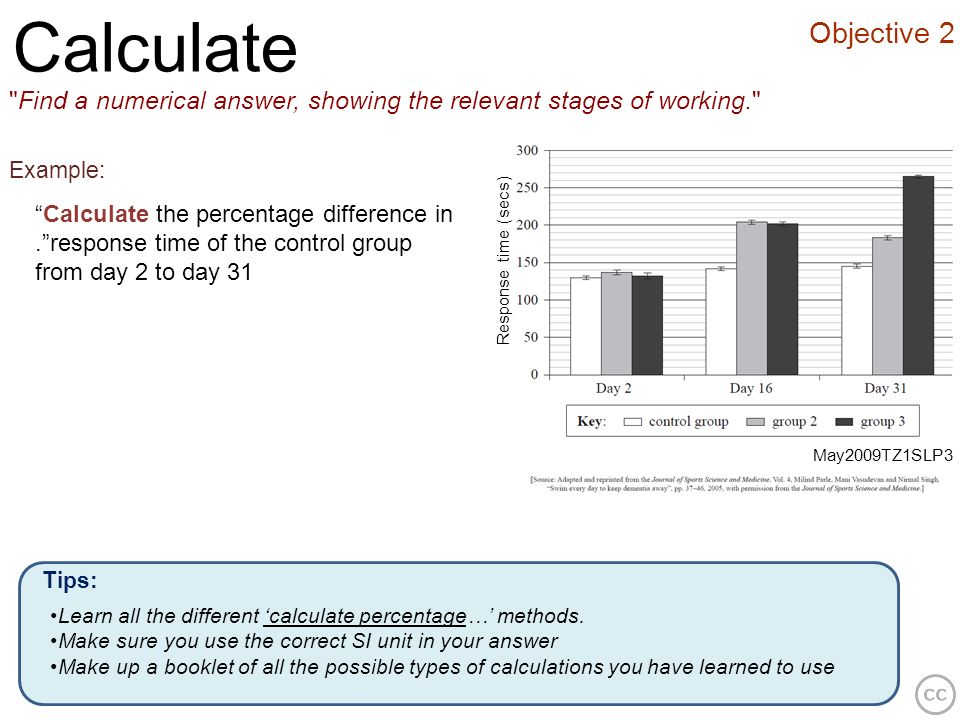 Calculate Objective 2. Find a numerical answer, showing the relevant stages of working. Example: