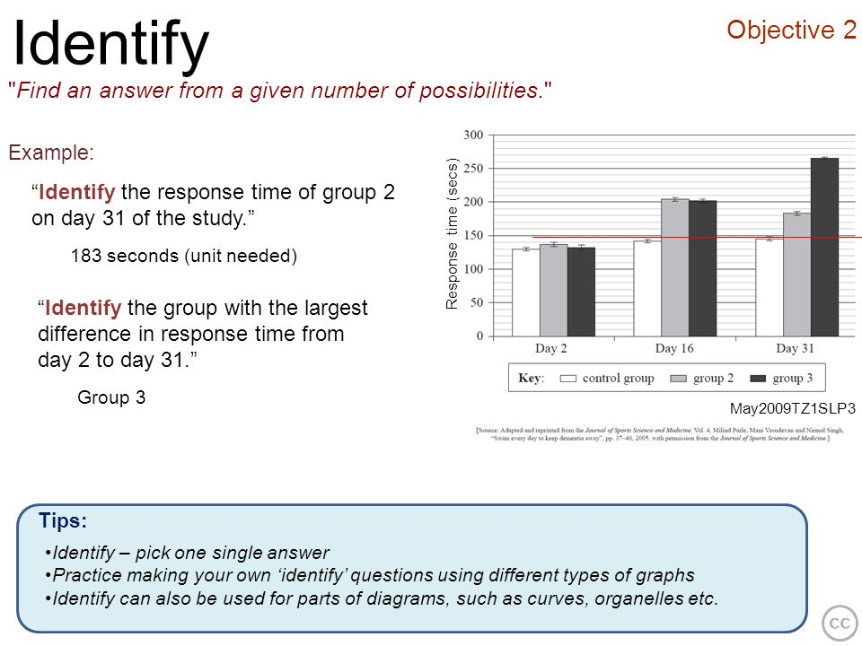 IdentifyObjective 2. Find an answer from a given number of possibilities. Example: Identify the response time of group 2 on day 31 of the study.