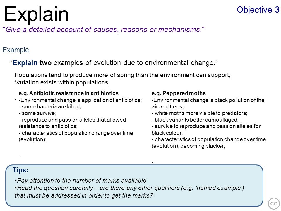 Explain Objective 3. Give a detailed account of causes, reasons or mechanisms. Example: