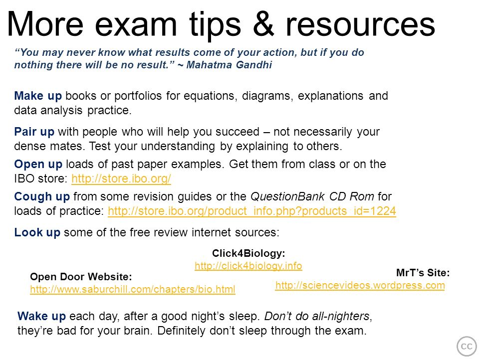 More exam tips & resources