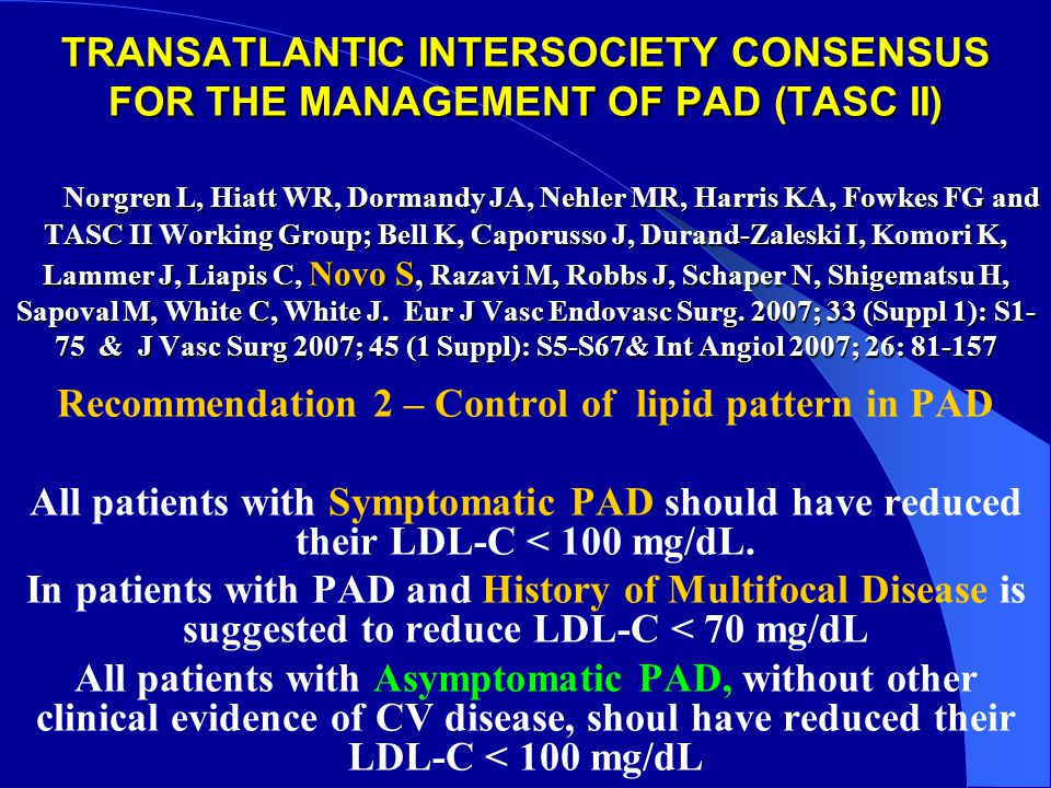 Recommendation 2 – Control of lipid pattern in PAD