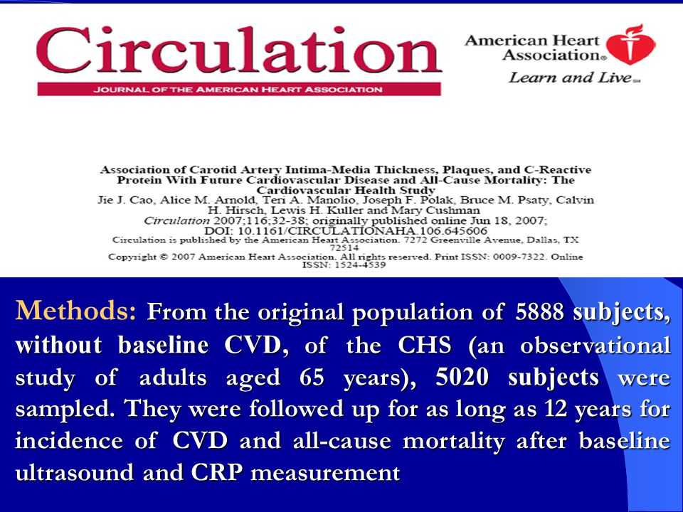 Methods: From the original population of 5888 subjects, without baseline CVD, of the CHS (an observational study of adults aged 65 years), 5020 subjects were sampled. They were followed up for as long as 12 years for incidence of CVD and all-cause mortality after baseline ultrasound and CRP measurement