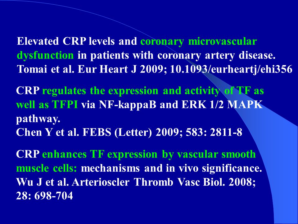 Elevated CRP levels and coronary microvascular