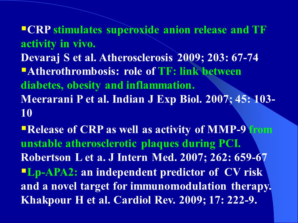 CRP stimulates superoxide anion release and TF activity in vivo.