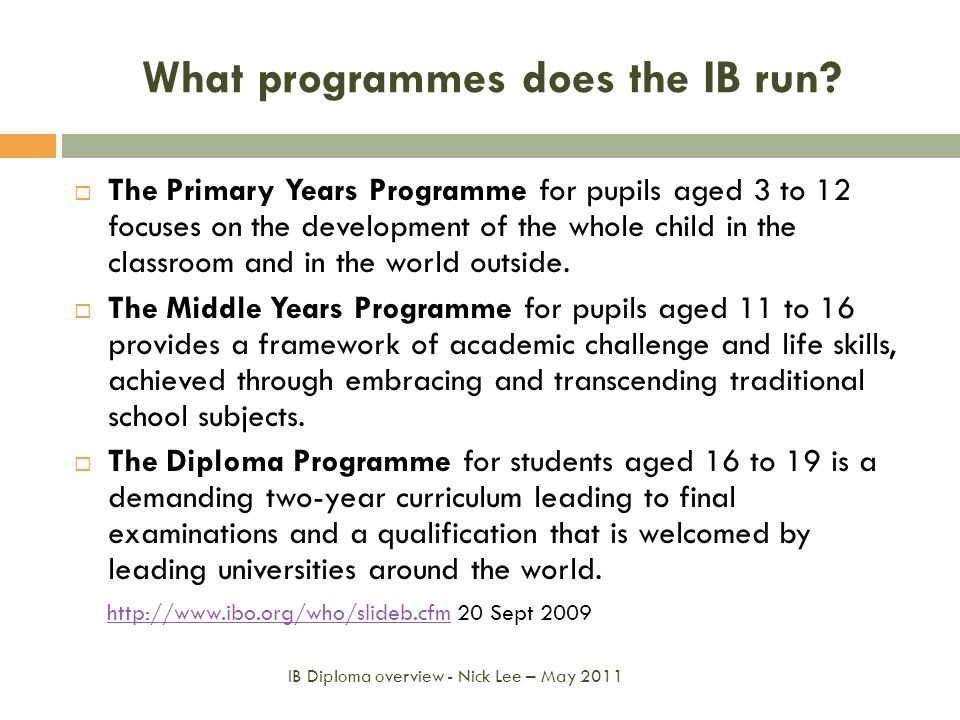 What programmes does the IB run