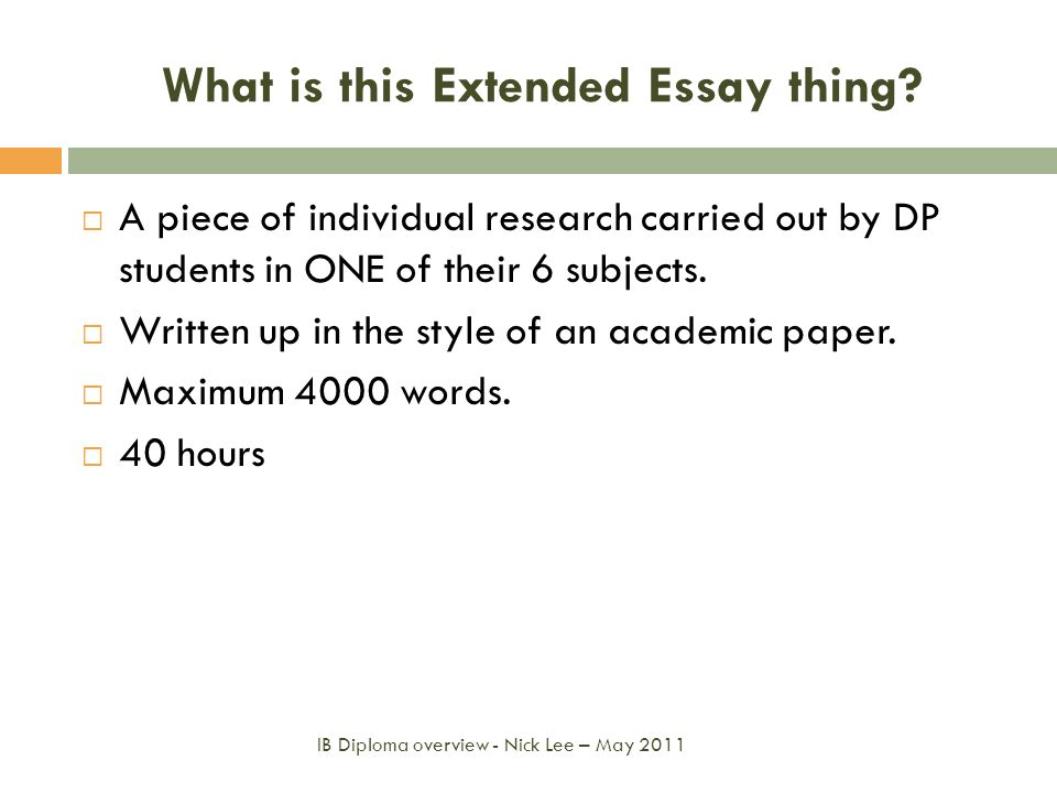 What is this Extended Essay thing