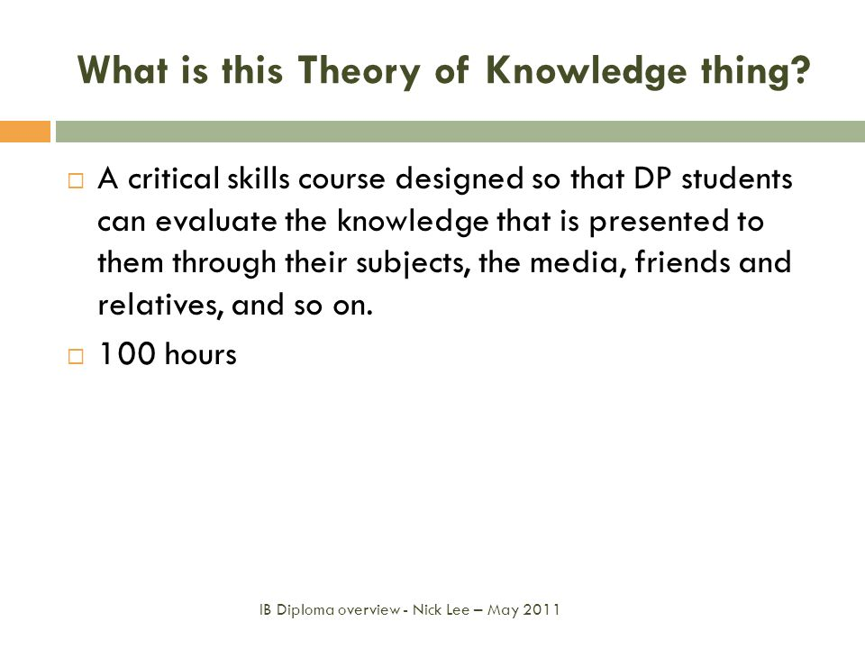 What is this Theory of Knowledge thing