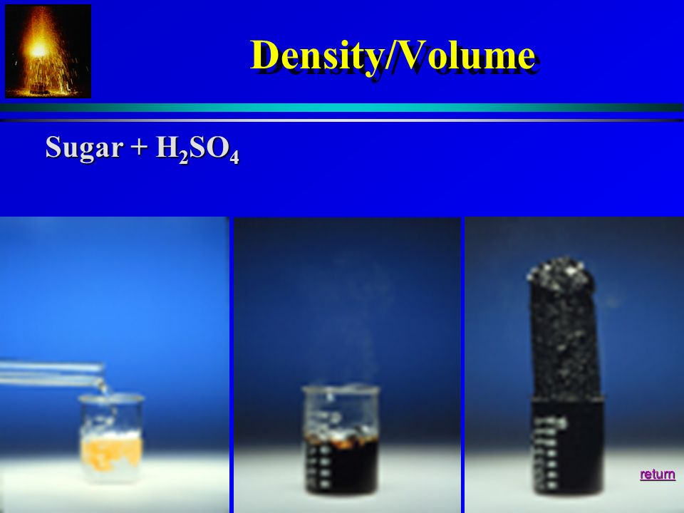 Density/Volume Sugar + H2SO4 return