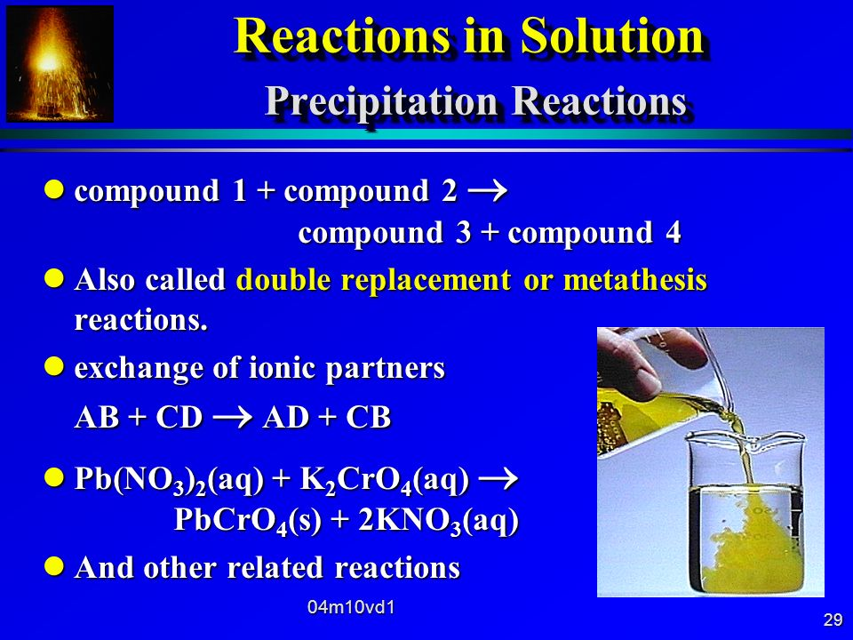 Reactions in Solution Precipitation Reactions