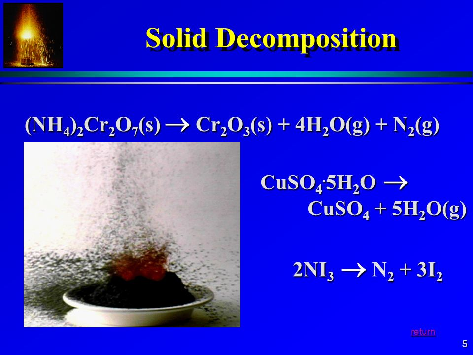 Solid Decomposition (NH4)2Cr2O7(s)  Cr2O3(s) + 4H2O(g) + N2(g)