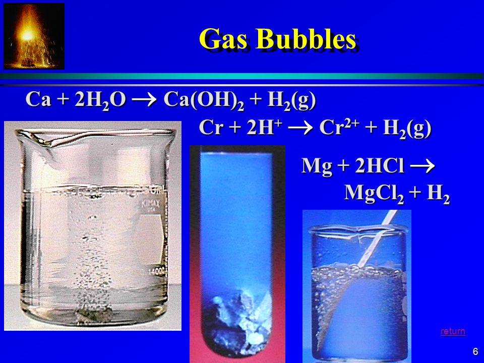 Gas Bubbles Ca + 2H2O  Ca(OH)2 + H2(g) Cr + 2H+  Cr2+ + H2(g)