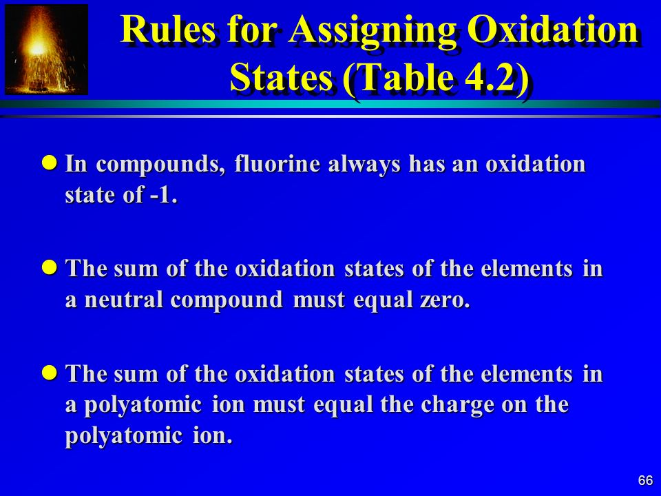 Rules for Assigning Oxidation States (Table 4.2)