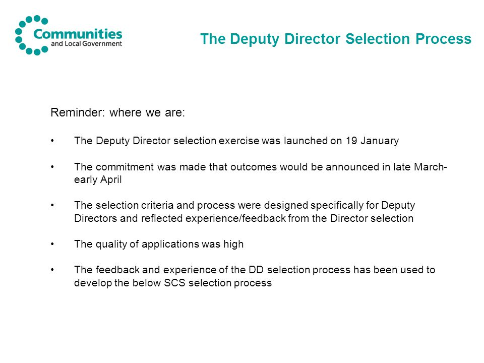 The Deputy Director Selection Process