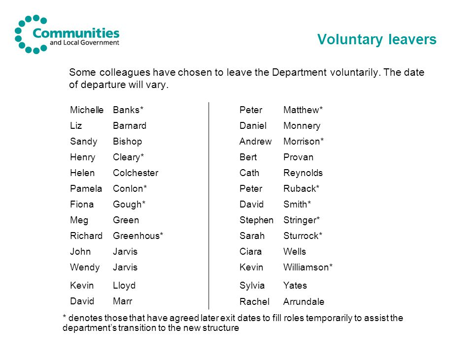 Voluntary leavers Some colleagues have chosen to leave the Department voluntarily. The date of departure will vary.